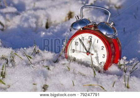 Vintage New Year Clock Alarm-clock On Snow