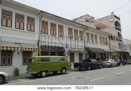 Phuket City, TH-Sept,18 2014:The street of the old town - Dibuk Road, Phuket Town, Thailand