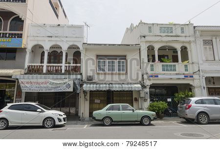 Phuket City, TH-Sept,18 2014:The street of the old town - Dibuk Road, Phuket Town, Thailand