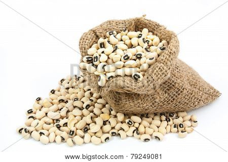 Black Eyed Peas Beans  In Canvas Sack