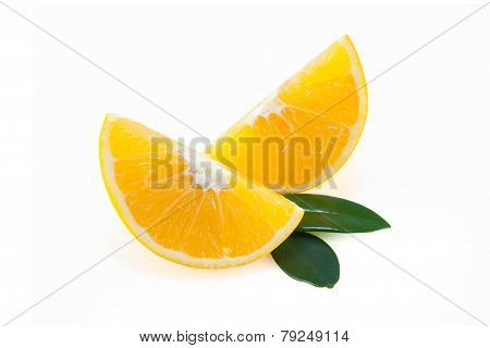 Oranges Quarter With Leafs