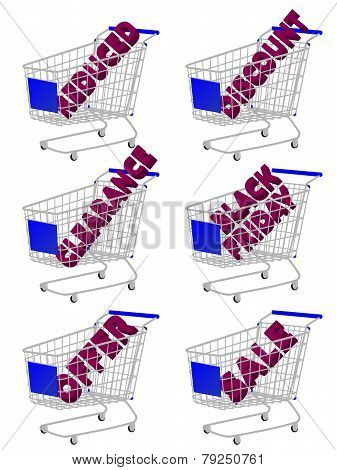 Blue 3D Shopping Cart With Sale Texts