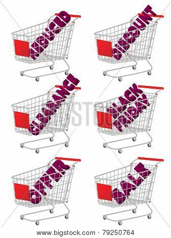Red 3D Shopping Cart With Sale Texts