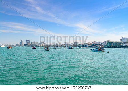 Motor Boat Near With Coast Of Pattaya City