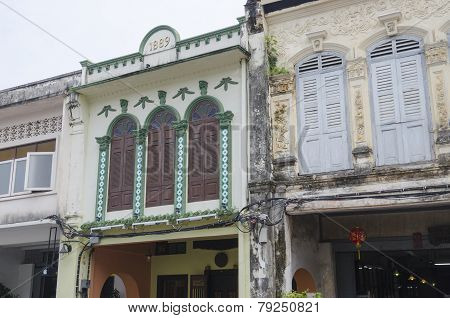 Phuket City, TH-Sept,18 2014:The street of the old town - Thalang Road  in Sept,18 2014 in Phuket To