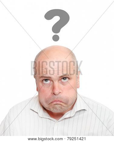 Worried man with question mark over his head.