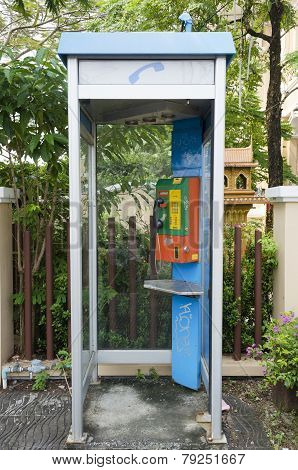 Phuket City, TH-Sept,18 2014: Phone booth on the street of the old town in Phuket, Thailand