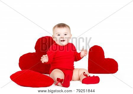 Little girl with red hearts on a white background.