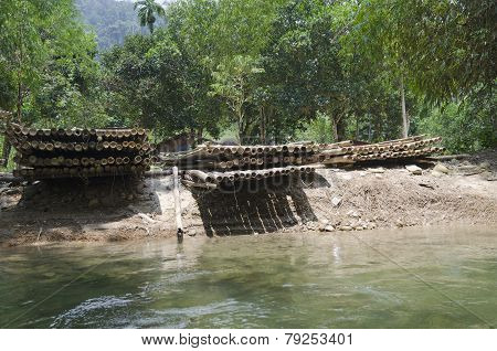 Bamboo rafts for rafting. Thailand, Khao Lak