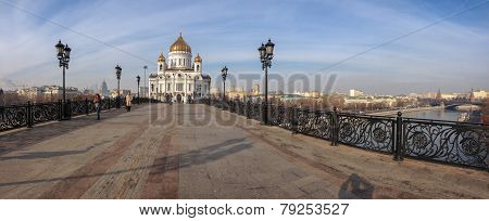 Moscow, Russia - Oct 31, 2014: Panoramic View Patriarshy Footbridge To Cathedral Of Christ The Savio