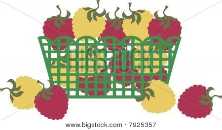 Red gold raspberries market grocery fruit basket