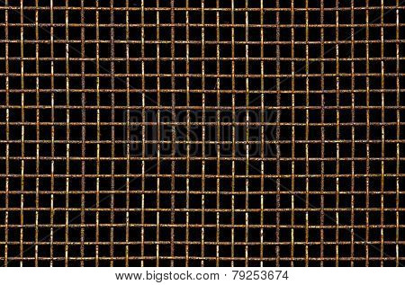 Dirty and rusty mosquito wire mesh closeup