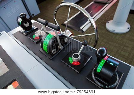 Modern Ship Control Panel On The Captains Bridge