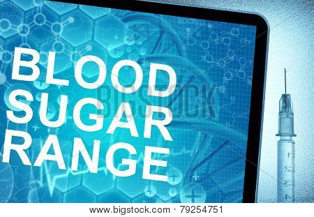 the words blood sugar range on a tablet