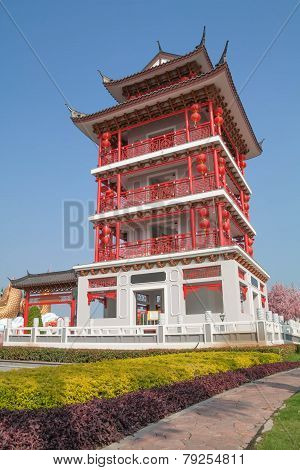 A Buddhist tower in Chinese style and bule sky
