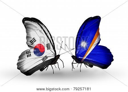 Two Butterflies With Flags On Wings As Symbol Of Relations South Korea And Marshall Islands