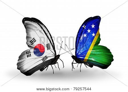 Two Butterflies With Flags On Wings As Symbol Of Relations South Korea And Solomon Islands