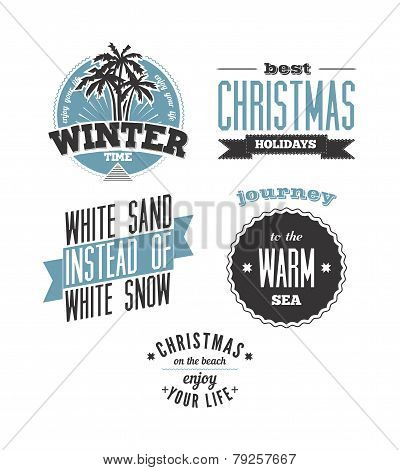 Christmas on the beach. Set of vector typography designs