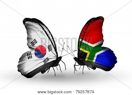 Two Butterflies With Flags On Wings As Symbol Of Relations South Korea And South Africa