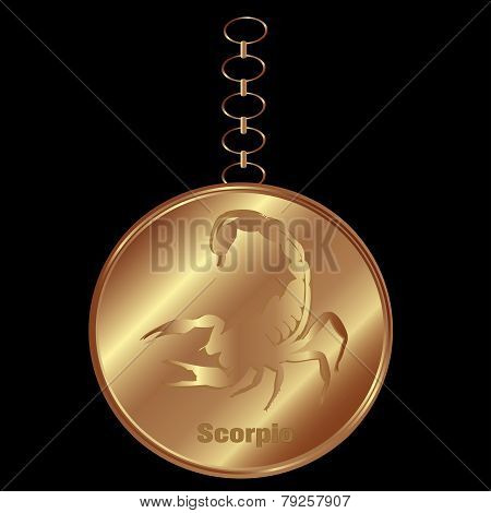 Bronze Charm For Scorpio Over a Black Background