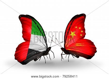 Two Butterflies With Flags On Wings As Symbol Of Relations Uae And China
