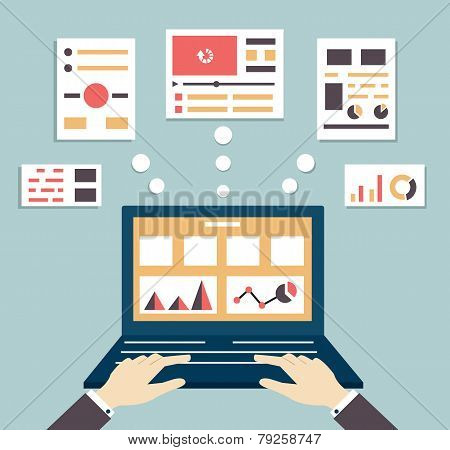 Flat Vector Illustration Of Web And Application Optimization, Programming, Design And Analytics