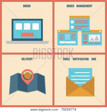 Vector Flat Process Of E-shopping. Order And Analytics