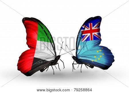 Two Butterflies With Flags On Wings As Symbol Of Relations Uae And Tuvalu