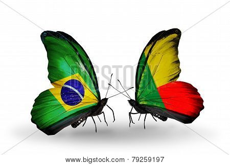 Two Butterflies With Flags On Wings As Symbol Of Relations Brazil And Benin