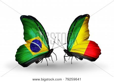 Two Butterflies With Flags On Wings As Symbol Of Relations Brazil And Kongo
