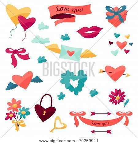 Set of Valentine's and Wedding icons.