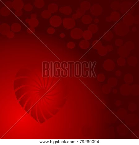 Background Vector-Red With Circles And A Spiral Heart