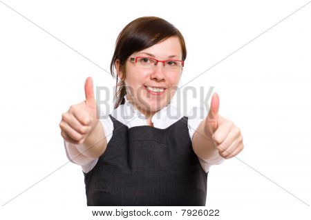 Female Office Worker Shows Thumbs Up, Isolated
