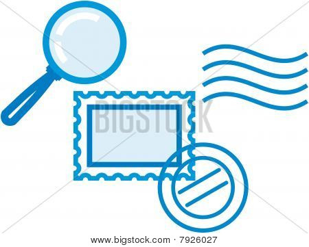 Vector philately and postal items illustration - post stamps and magnifying glass