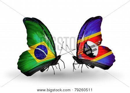 Two Butterflies With Flags On Wings As Symbol Of Relations Brazil And Swaziland