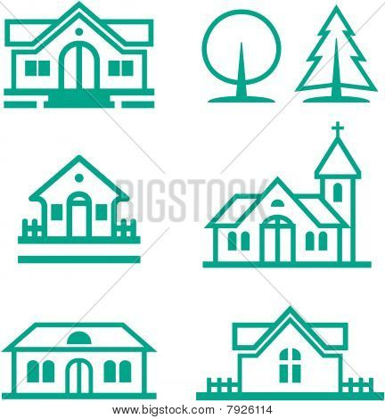 Buildings, houses, Christian church and trees illustration - Real estate and architecture