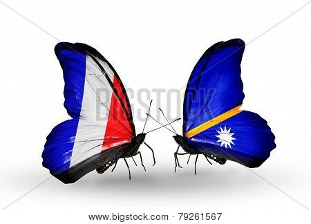 Two Butterflies With Flags On Wings As Symbol Of Relations France And Nauru