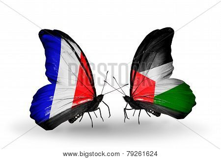 Two Butterflies With Flags On Wings As Symbol Of Relations France And Palestine
