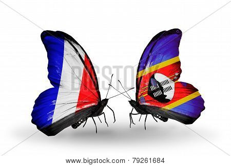 Two Butterflies With Flags On Wings As Symbol Of Relations France And Swaziland