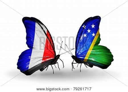 Two Butterflies With Flags On Wings As Symbol Of Relations France And Solomon Islands