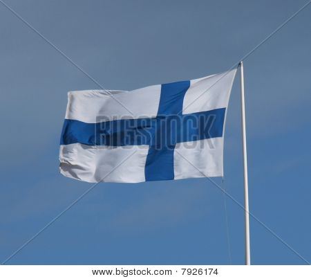 Flag of Finland against a blue sky