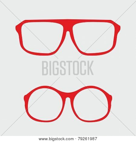 Red nerd glasses with thick holder - retro hipster vector illustration isolated on grey background.