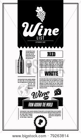 Wine List. Design template.