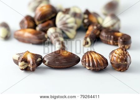 Various Chocolates Bonbon Isolated On White