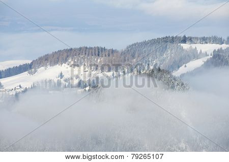 Winter fog at the Pilatus mountain, Luzern, Switzerland.