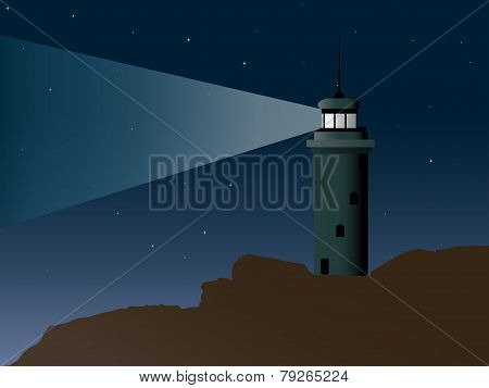 Cartoon Vector-Lit Lighthouse On A Very Rocky Shore