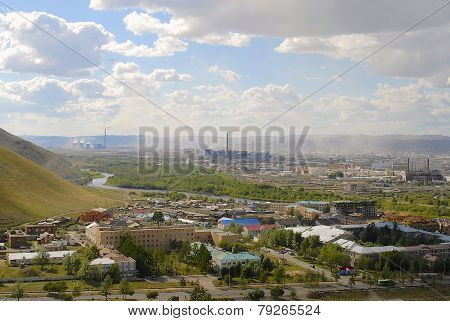 View to Ulaanbaatar city from the Tolgoi hill, Mongolia.