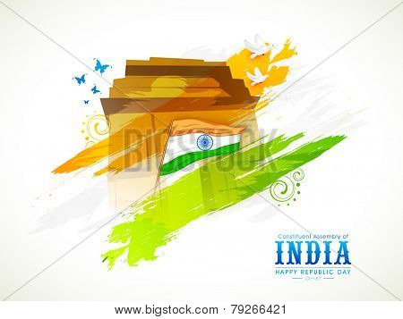 Indian National Flag with India Gate, flying pigeon and butterfly for Indian Republic Day celebration.