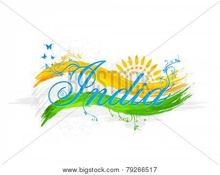 Stylish text India with national flag color waves, floral design and butterflies for Indian Republic Day celebration.