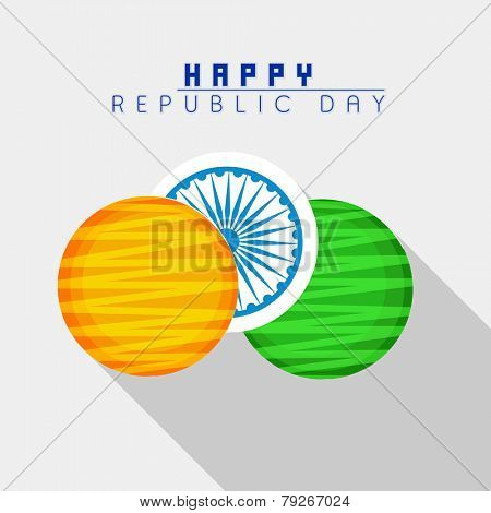 Happy Indian Republic Day celebration sticker or label design in national flag colors with Ashoka Wheel on grey background.